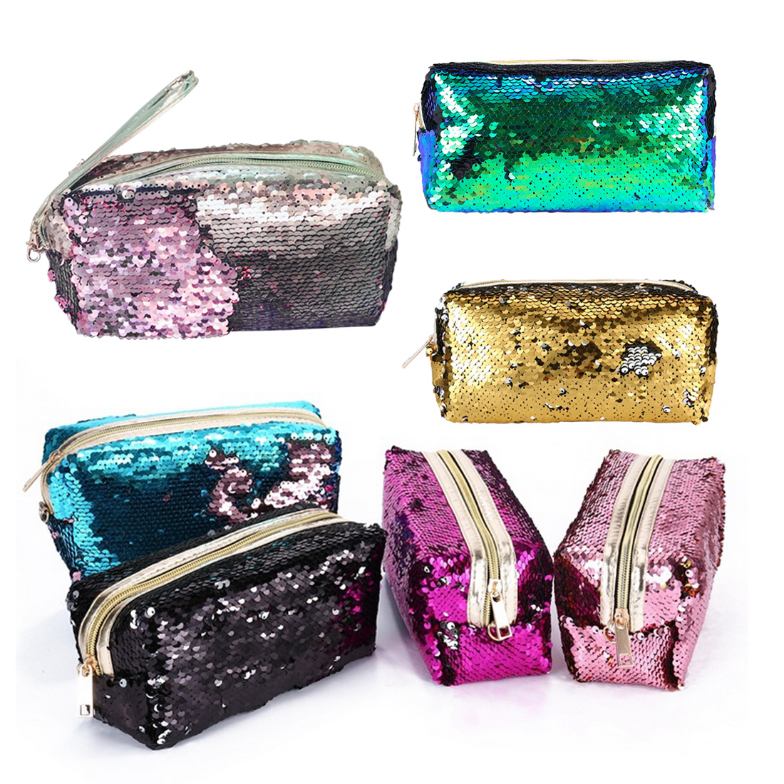 New High Quality Glitter Mermaid Sequins Laser Cosmetic Bag Fashion Student Sequin Pencil Case Ladies Coin Purse Storage Bags 100% brand new and high quality student macaron bow serie fashion change purse ap3