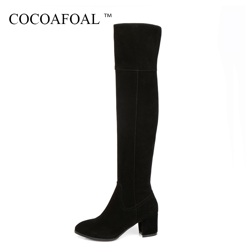 KEAIQIANJIN Autumn Winter Zipper Chelsea Thigh High Boots Black High Heeled Shoes Woman Genuine Leather Over The Knee Boots 2018 keaiqianjin black high heeled shoes autumn winter rivet lace up knee high boots woman genuine leather over the knee boots 2018