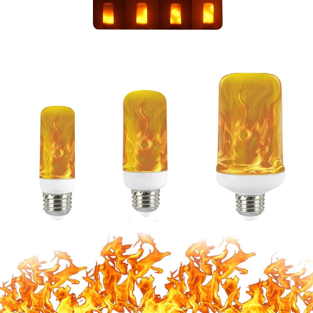 Creative 4 Modes 85-265V LED Flame Lights E27 E14 B22 Flame Effect Fire Light Candle Bulb 9W 15W Flickering Emulation Decor Lamp