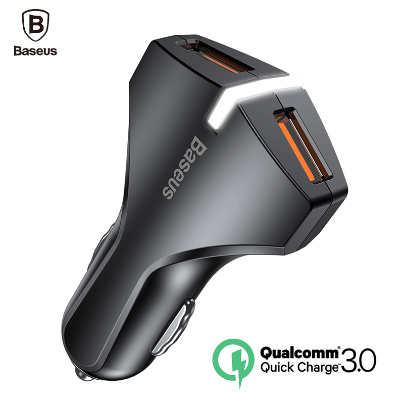 Baseus Quick Charge 3.0 Dual USB Car Charger 5V3A Turbo Fast Car Charging Mobile Phone Charger For iPhone Xiaomi Car Adapter