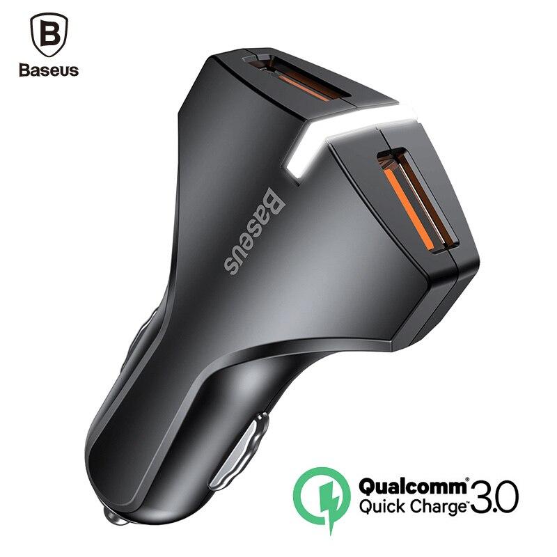 Baseus Quick Charge 3,0 cargador de coche Dual USB 5V3A Turbo coche rápido cargador del teléfono móvil para iPhone Xiaomi Car adaptador