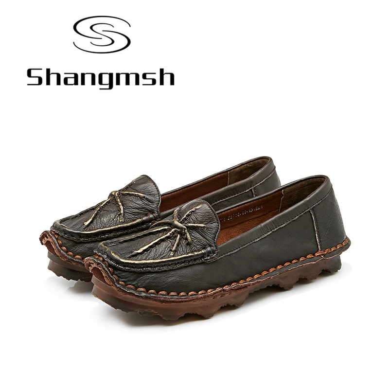 Shangmsh Real Leather Women Shoes Mother Loafers Soft Flats Female Driving Casual Footwear Solid Boat Shoe Genuine leather flats vintage embroidery women flats chinese floral canvas embroidered shoes national old beijing cloth single dance soft flats