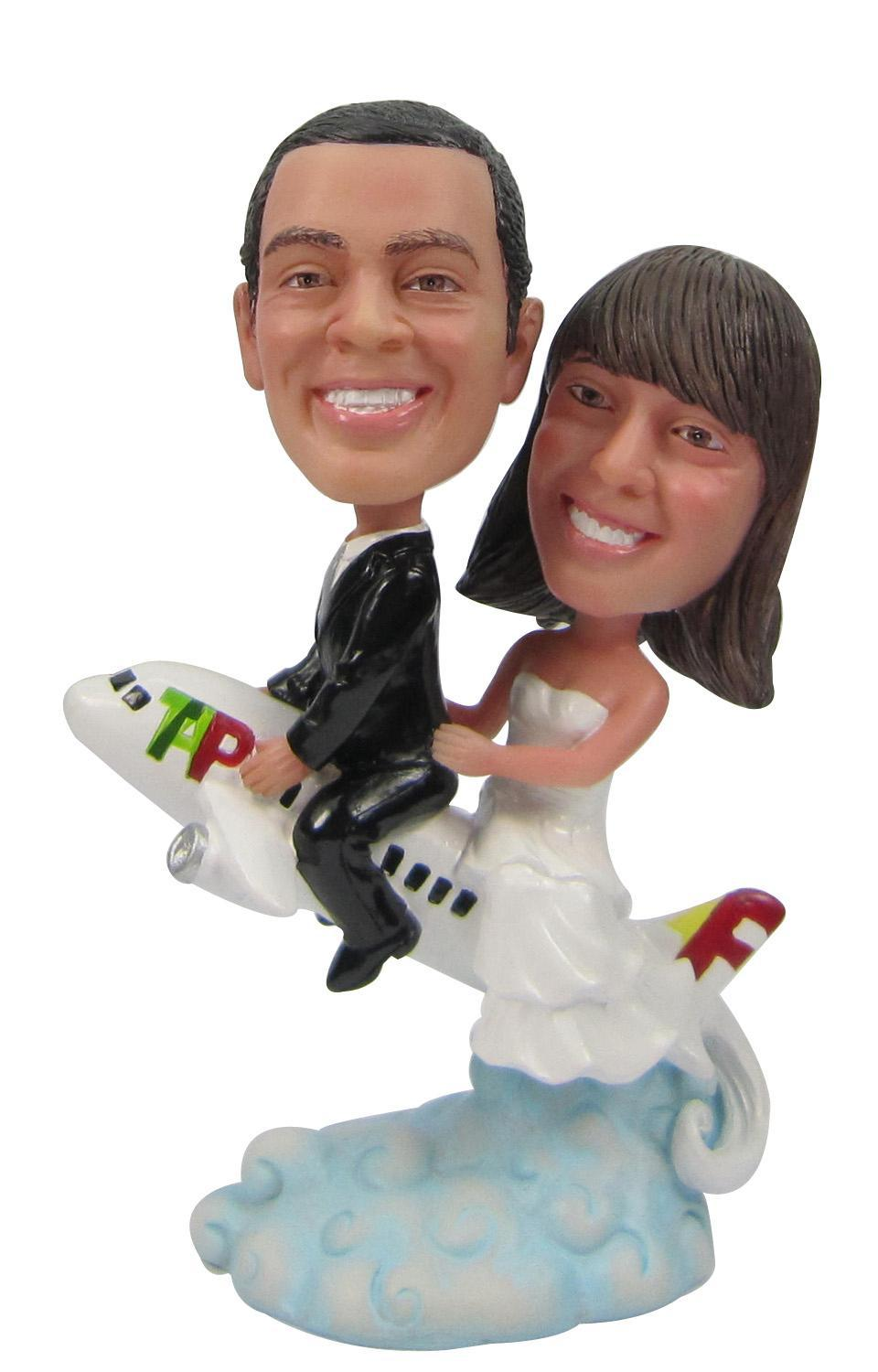 Fedex free shipping Personalized bobblehead doll go to sky wedding gift wedding decoration polyresin