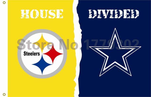 Pittsburgh Steelers Dallas Cowboys Дом, Разделившийся Флаг 3ft x 5ft Полиэстер НФЛ Баннер Летающие Пользовательский флаг