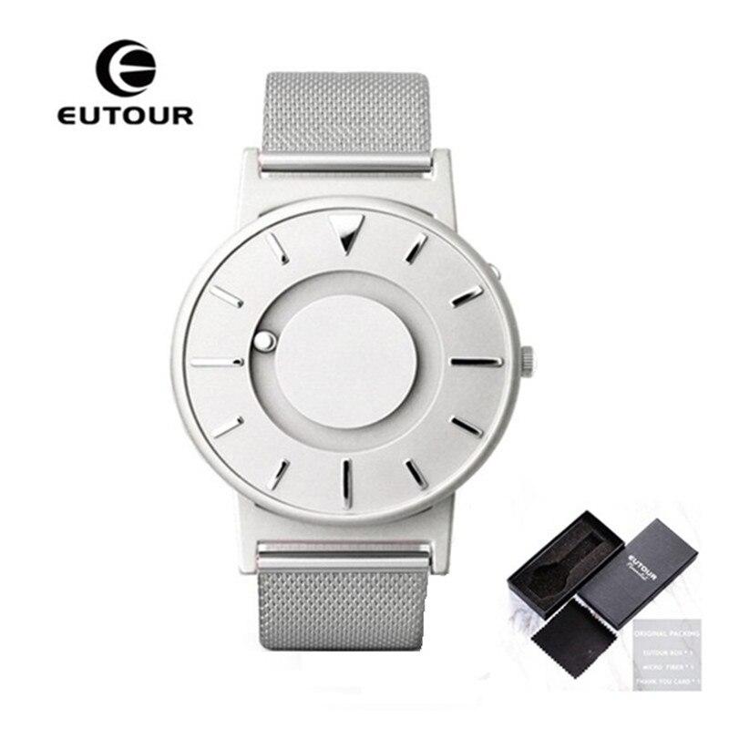 Chaude EUTOUR Magnétique Montres À Quartz Hommes De Luxe Creative Design Étanche Mâle Horloge En Acier Inoxydable Hommes Montre relogio masculino