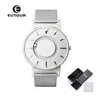 EUTOUR Men Watches Creative Steel Ball Show Magnetic Watch Canvas Fashion Design Male Clock Novel Mens