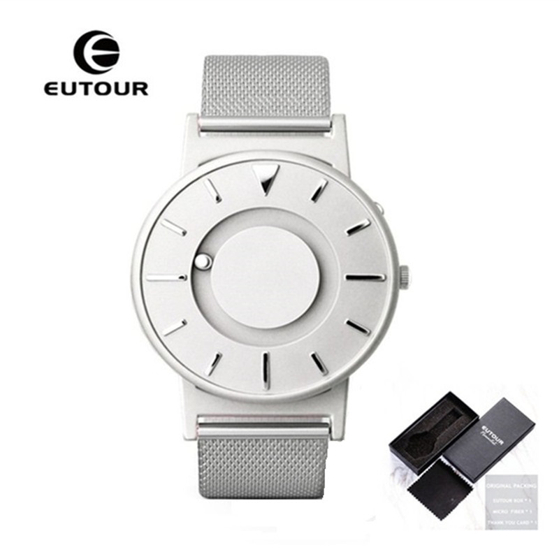 Hot EUTOUR Magnetic Quartz Watches Men Luxury Creative Design Waterproof Male Clock Stainless Steel Men Watch relogio masculino