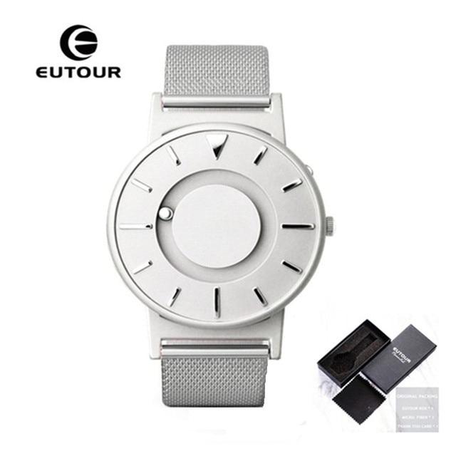 Hot EUTOUR Magnetic Quartz Watches Men Luxury Creative Design Waterproof Male Clock Stainless Steel Men Watch relogio masculino