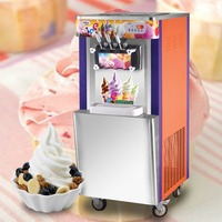 Hot sale 35L vertical Ice Cream Making machine commercial free standing ice cream maker 3 flavors with rainbow system and wheel