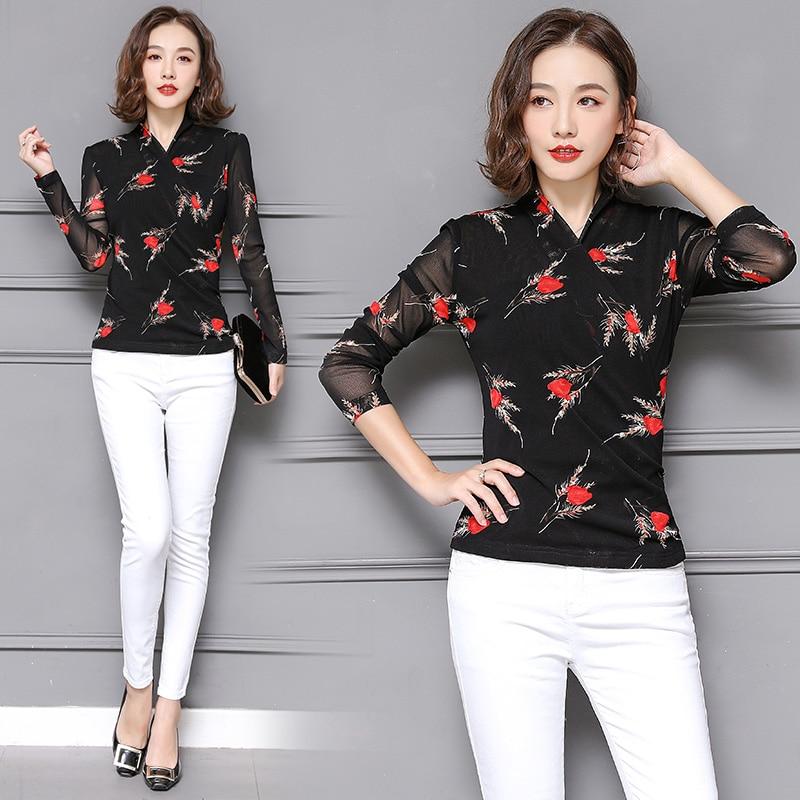 polka dot chiffon blouse flower print female long sleeved v neck 2018 fashion black autumn Tops shirts women clothing 819C3 in Blouses amp Shirts from Women 39 s Clothing