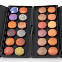 12 Colors A Set Glitter 3D Stripe Color Baked Eye Shadow Powder Cosmetics Smoky Eyeshadow Palette