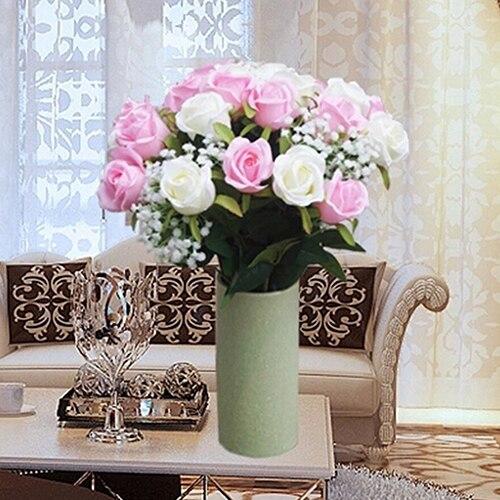 Flor Artificial Falso Rose Bouquet Festa de Casamento Decoração de Casa De Seda Artesanal 6DY2