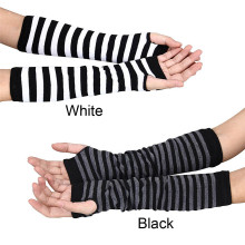 Женские зимние полосатые наручные руки теплые вязаные длинные перчатки без пальцев Рукавицы гетры для рук