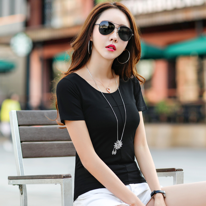 2019 Summer New Fashion Women T Shirts Short Sleeve Women O Neck Cotton T Shirts Female Retro Female Casual Tops Tee White Black in T Shirts from Women 39 s Clothing