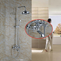 Chrome Dual Handles Rain Shower Faucet Set W/ Hand Shower Tub Spout Mixer Tap