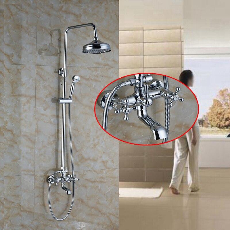 Chrome Dual Handles Rain Shower Faucet Set W/ Hand Shower Tub Spout Mixer Tap