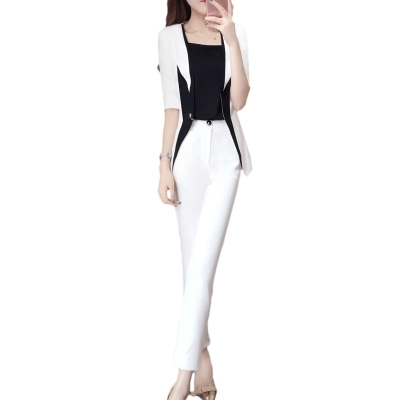 New women's spring fashion small suit two-piece spring black and white stitching suit suit female 6