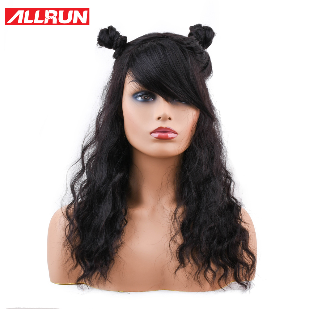 Allrun Brazilian Non Remy Ocean Wave Human Hair Wigs With Adjustable Bangs Human Hair Wigs Full Machine Natural Color Lace Wigs