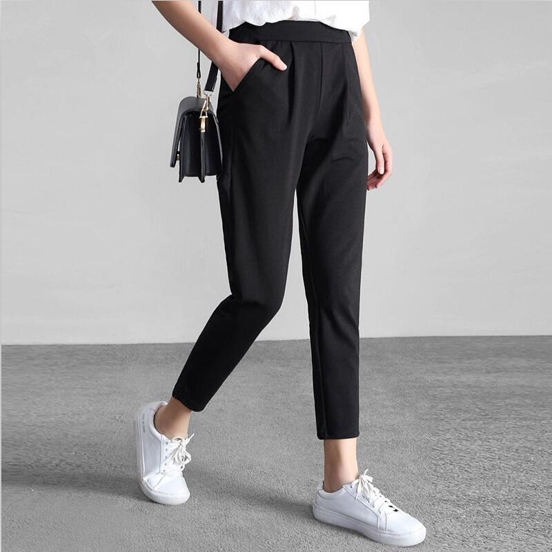 2019 Lady Casual Chiffon Pants Women Ankle-Length Trousers Work Wear Black Harem Pants Female Formal Suit Pants M-7XL