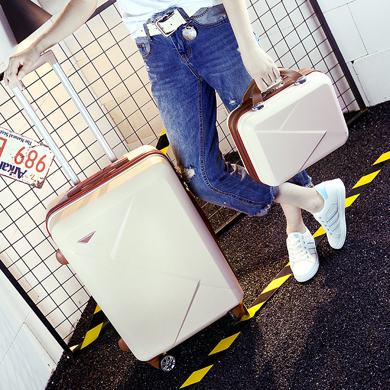 Оптовая продажа! 14 26 дюймов розовый/зеленый/фиолетовый/бежевый ABS Hardside путешествия багажные сумки на Универсальный колеса для молодых девуш...