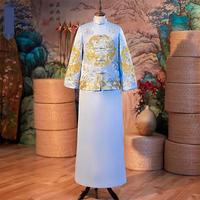 Wedding 2pcs Bridegroom Set Qipao Embroidery Cheongsam Dragon Classic Long Robe Gown Vintage Button Men Evening Party Costume