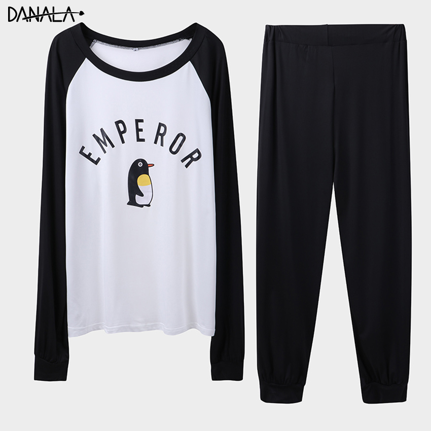 DANALA Casual Animals Pajamas Set For Man 2019 Summer Supple Sleepwear Men\x27s Set Long Sleeve Black And Black Home Suits