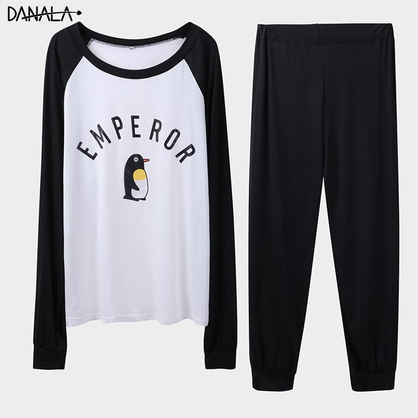DANALA Casual Animals Pajamas Set For Man 2019 Summer Supple Sleepwear Men\x27s Set Long Sleeve Black And Black Home Suits