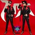 S-3xl красный черный мотоцикл заклепки мужчины мода тонкий кожаная одежда BIGBANG певец DJ GD чжи - длинные же стиле костюмы куртка