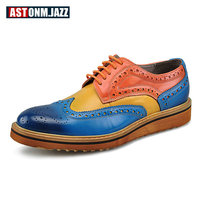 Men's Casual Genuine Leather Oxfords Shoes Lace up Pointed Toe Dress Shoes Mixed Color Wedding Shoes Office Casual Shoe Men New