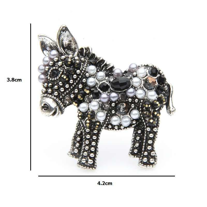 Wuli & Bayi Hitam Keledai Bros Wanita Lucu Kartun Putih Manik Kuda Hewan Bros Pin Hadiah