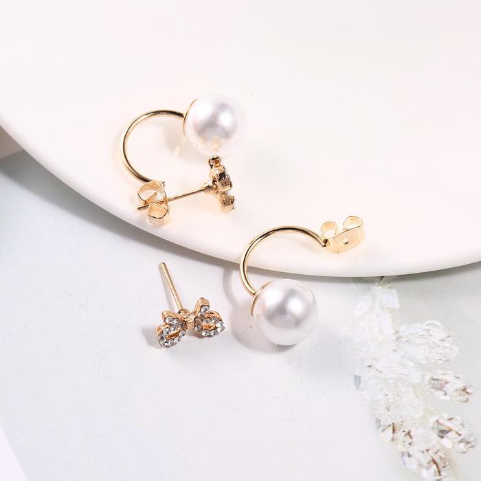 206fbec083 None Pearl Earrings 0 Gold Gift Casual Rhinestone Stud and Silver Bow Women  1cm Clip 4inch