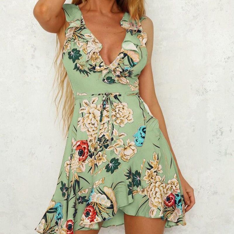 New Women Floral Mini Dress Summer Ladies V Neck Ruffles Party Beach Sleeveless Sundress