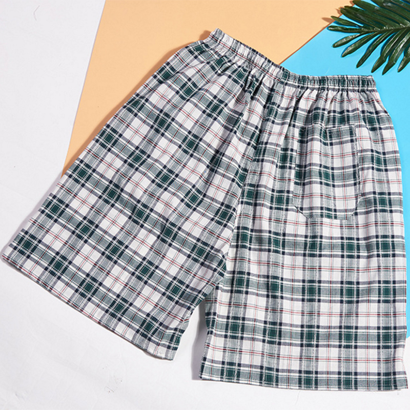 100% Cotton Shorts Men Striped Panties Loose High Quality Oversize Breathable Underwear Men Boxer Plaid Underpants(China)