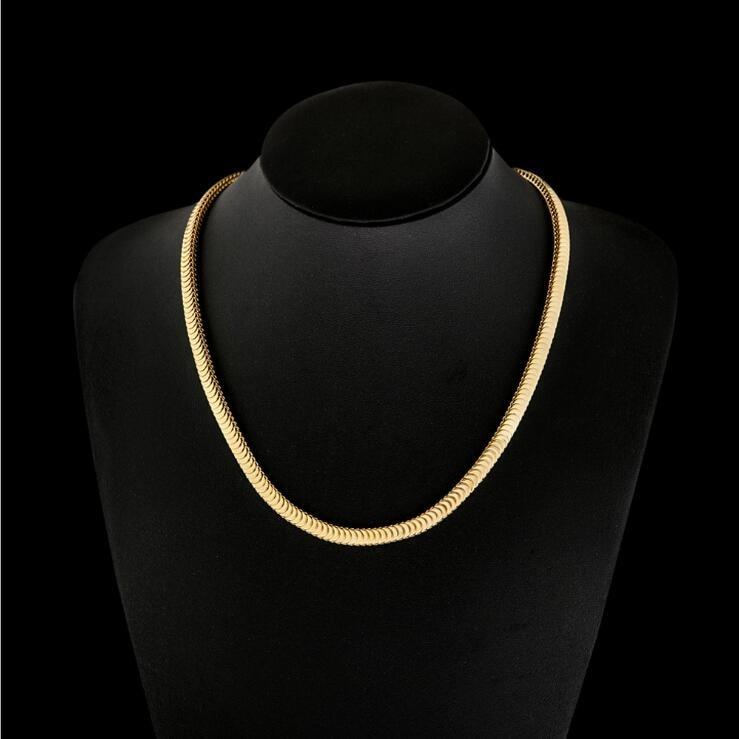 Fashion Women Jewelry Flat Snake Bone Chain Silver Chain Necklace 50cm Gifts Hot