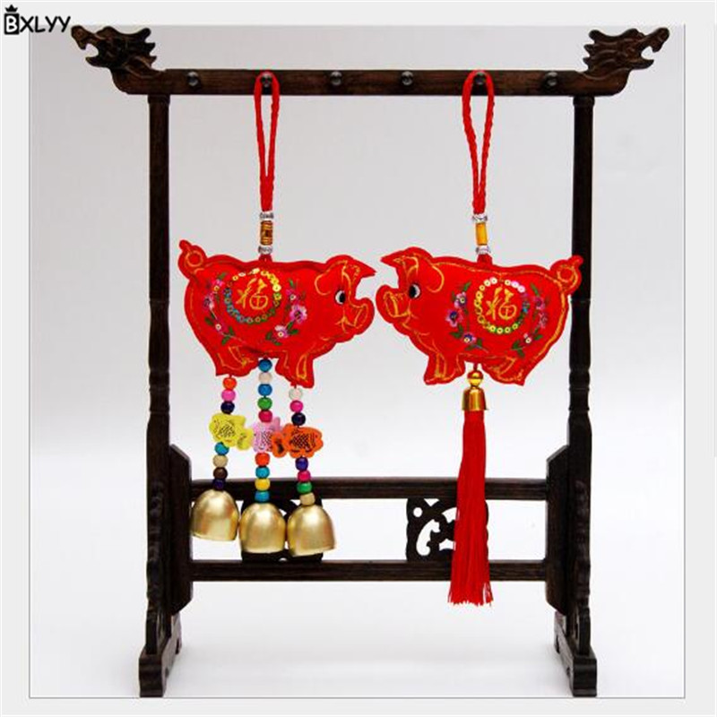 BXLYY New Pig Year Chinese Knot Pendant New Year Gift Living Room Decoration Give The Guest Small Hanging Gift Wedding Party.8z