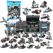 8 IN 1 Robot Aircraft Car City Police SWAT Truck Car Model legoINGLYS Building Blocks Sets Bricks Educational Toys For Children недорого