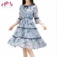 Heißer Verkauf 2017 Sommer Chiffon-Strandkleid Frauen Schlank Drucken Blumen Schmetterlingshülse Kleider Koreanische Elegante Plus Größe Nette Kleid