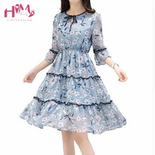 Лидер продаж Лето 2017 г. шифоновое пляжное платье Для женщин Тонкий цветочный принт с рукавом-бабочкой Платья для женщин Корейский элегантный плюс Размеры милое платье