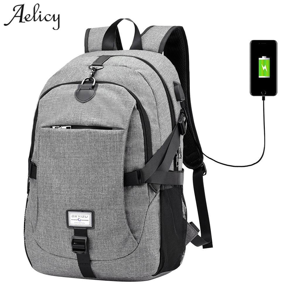 Aelicy MEN WOMEN Oxford Backpack Male 2018 New Design Anti-theft USB Charging Waterproof Travel Backpack Multifunctional HOT L