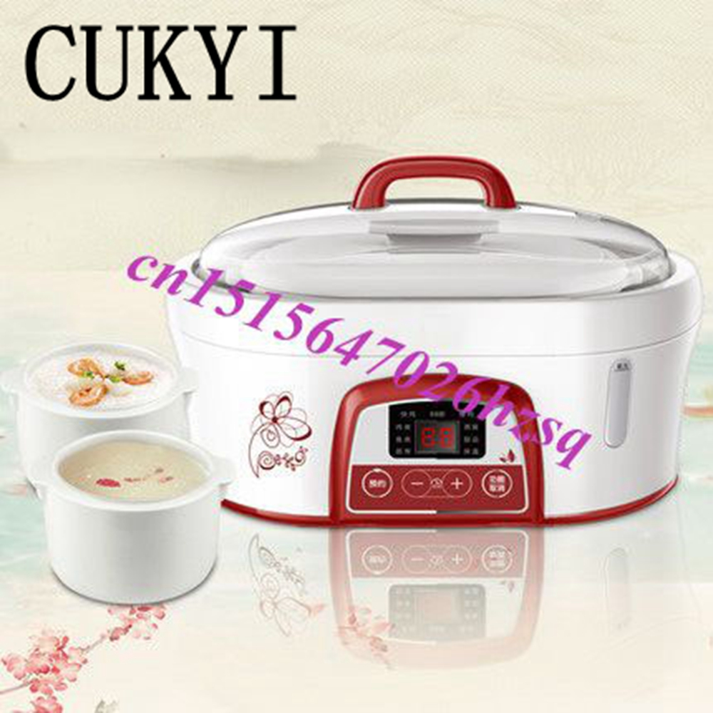CUKYI water-resisting ceramic Electric cookers White porcelain Nest slow cooker Soup baby Slow porridge pot available for 1-3 cukyi stainless steel electric slow cooker plug ceramic cooker slow pot porridge pot stew pot saucepan soup 2 5 quart silver