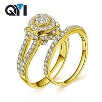 QYI Jewelry Твердые 10 К желтое золото изобразительных Круглый Имитация Diamond Ring Обручение обручальное кольцо ювелирные изделия Для женщин новый Д