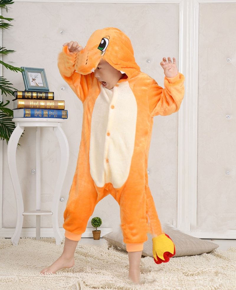 Children/Adult Costume Poke-mon Charmander Onesies Pajamas Cosplay Costume Jumpsuit Hoodies Sleepwear for Halloween Carnival