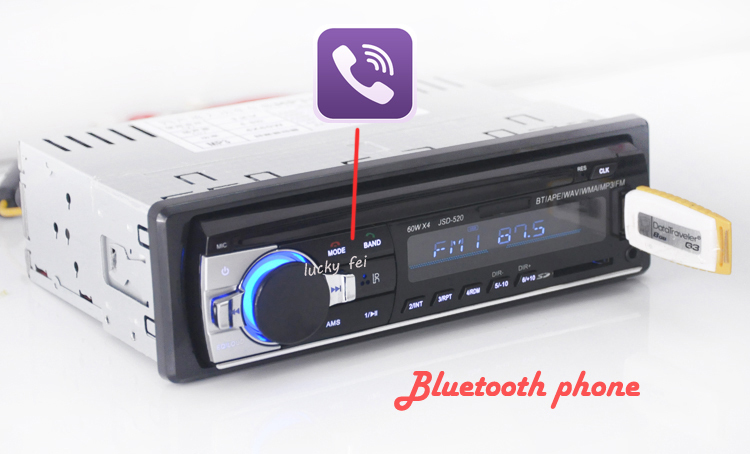 Bilradio Stereospiller Bluetooth-telefon AUX-IN MP3 FM / USB / 1 Din / Fjernkontroll For Iphone 12V Bil Audio Auto 2017 Salg Ny