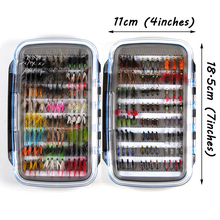 Promo 184pcs Wet Dry Nymph Fly Fishing Lure Box Set Fly Tying Material Bait Fake Flies for Trout Grayling Panfish Fishing Tackle