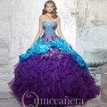 2016 Two-tone Bordado Apliques Vestidos Quinceanera Pick Up Tafetá Beading Vestido de baile de Máscaras Vestido 15 Sweet 16 Vestidos de Baile