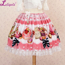 Sweet Pink Afternoon Tea Party Lovely Printed Lace Lolita Short Skirt with Bow for Girl Free Shipping