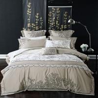 Hot 4pcs Silk Jacquard Satin Bedding Set Queen King Size Silk Fabric Home Textile Bedclothes Bedsheet