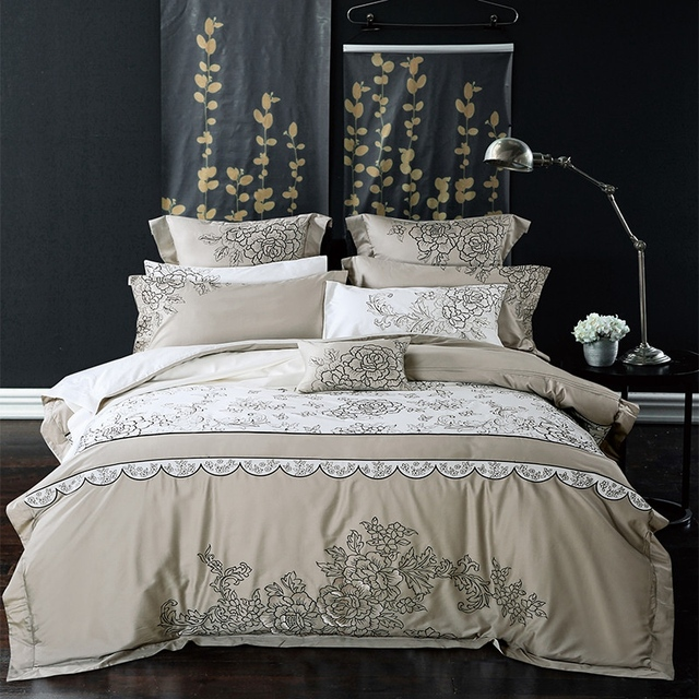 TUTUBIRD-Luxury Top Quality Satin Bedding Set European Style Egyptian Cotton Silk Mixed Fabric Embroidery Bed Linen Queen King