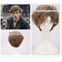 Fantastic Beasts and Where to Find Them Newt Short Brown Gradient Curly Cosplay Wig Halloween Prop Hair Role Play + Wig Cap