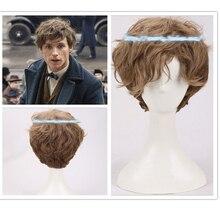 환상적인 짐승과 그 (것) 들을 찾아내는 곳에 Newt 짧은 갈색 그라데이션 곱슬 코스프레 가발 Halloween Prop 머리 역할 놀이 + 가발 모자